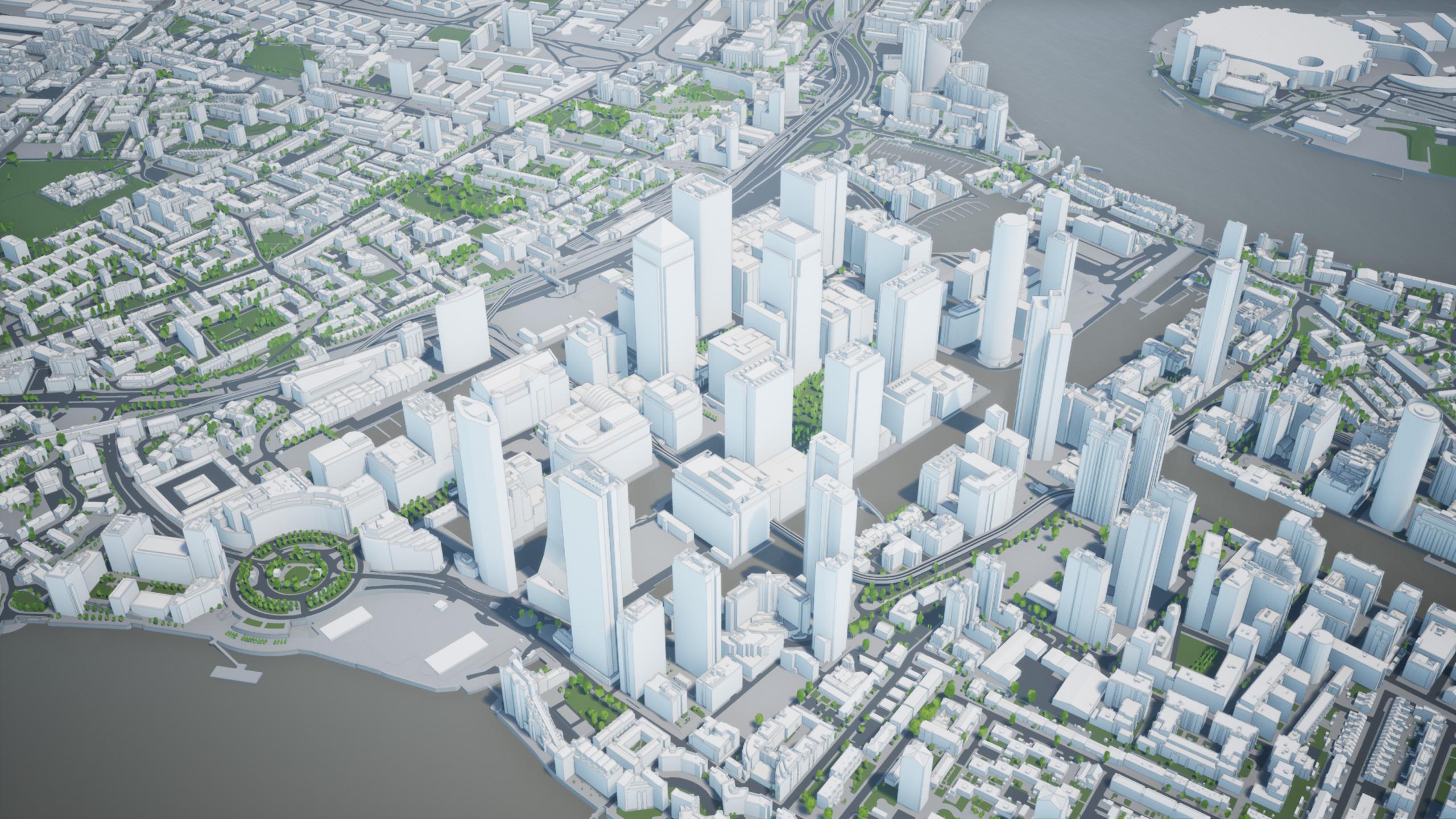 3D Model Isle of Dogs London 2020
