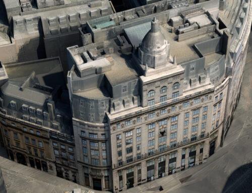 Re-texturing focus buildings in 3D London