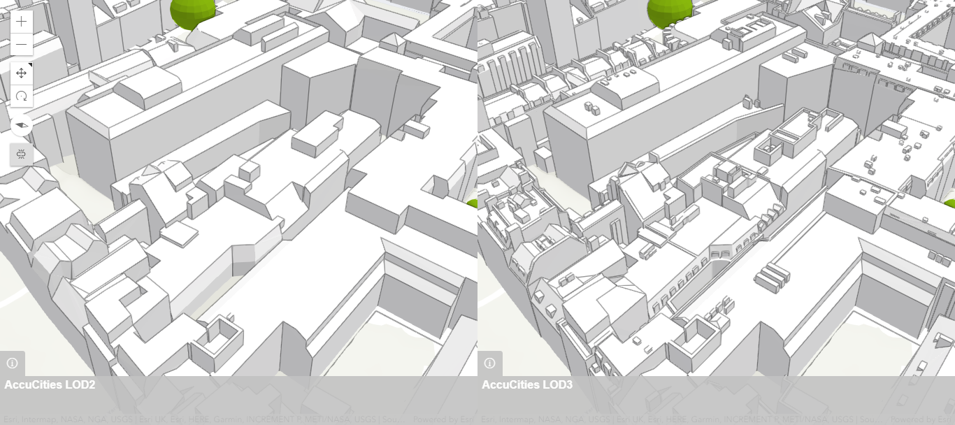 3D models of London in arcgis - side by side for a direct comparison
